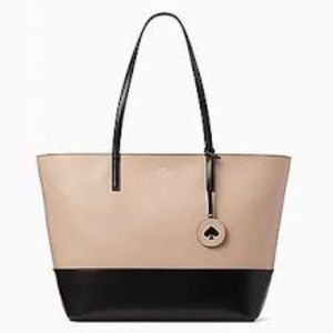 New Kate Spade Tanya Tote Bag Beige Black